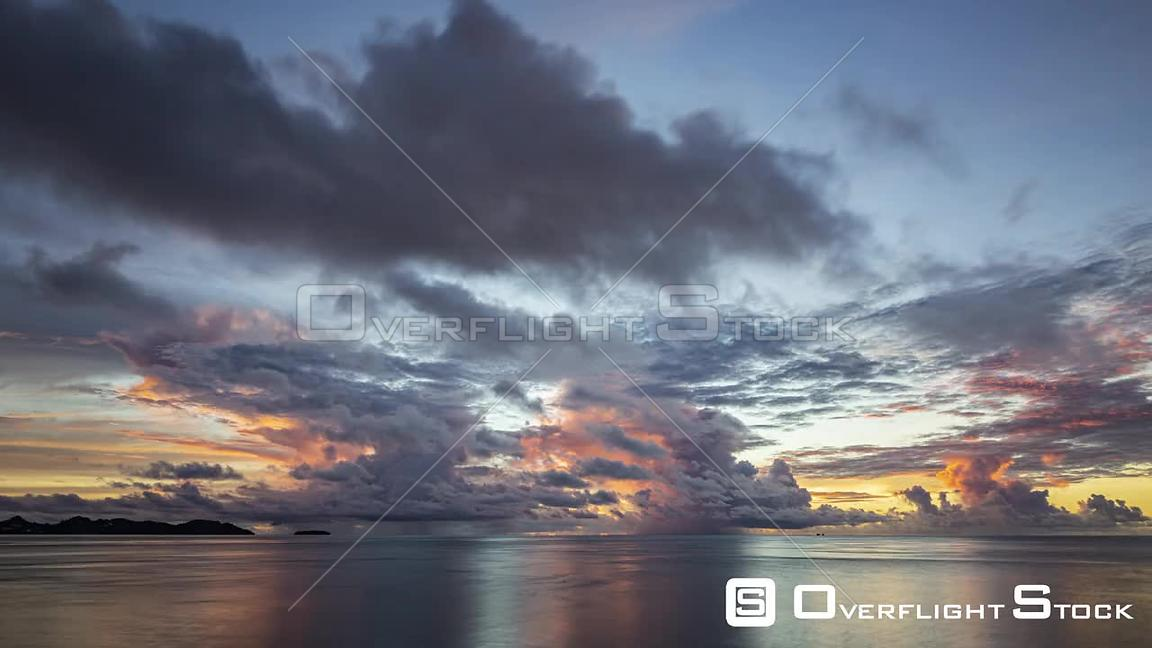 Timelapse Day to Night Pacific Ocean and Clouds Palau