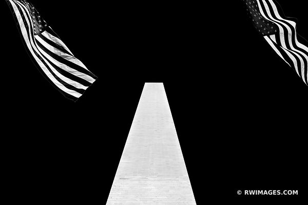 AMERICAN FLAGS WASHINGTON MONUMENT NATIONAL MALL WASHINGTON DC BLACK AND WHITE