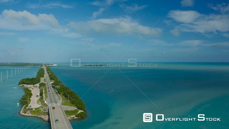 Flying low over Route 1 traffic panning. Florida Keys