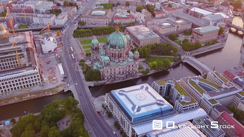 Germany Berlin Aerial Birdseye flying low around Cathedral Church area sunset
