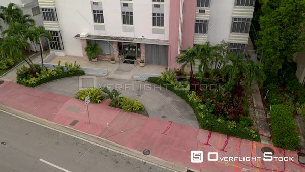 Aerial video Tropics Hotel and Hostel Miami Beach Collins Avenue
