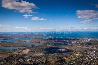 Aerial view of Bald Hills  in Queensland Australia.