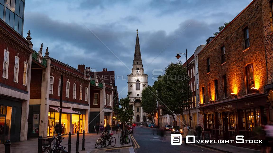 Timelapse view of Christ church in Spitalfields in London at sunset