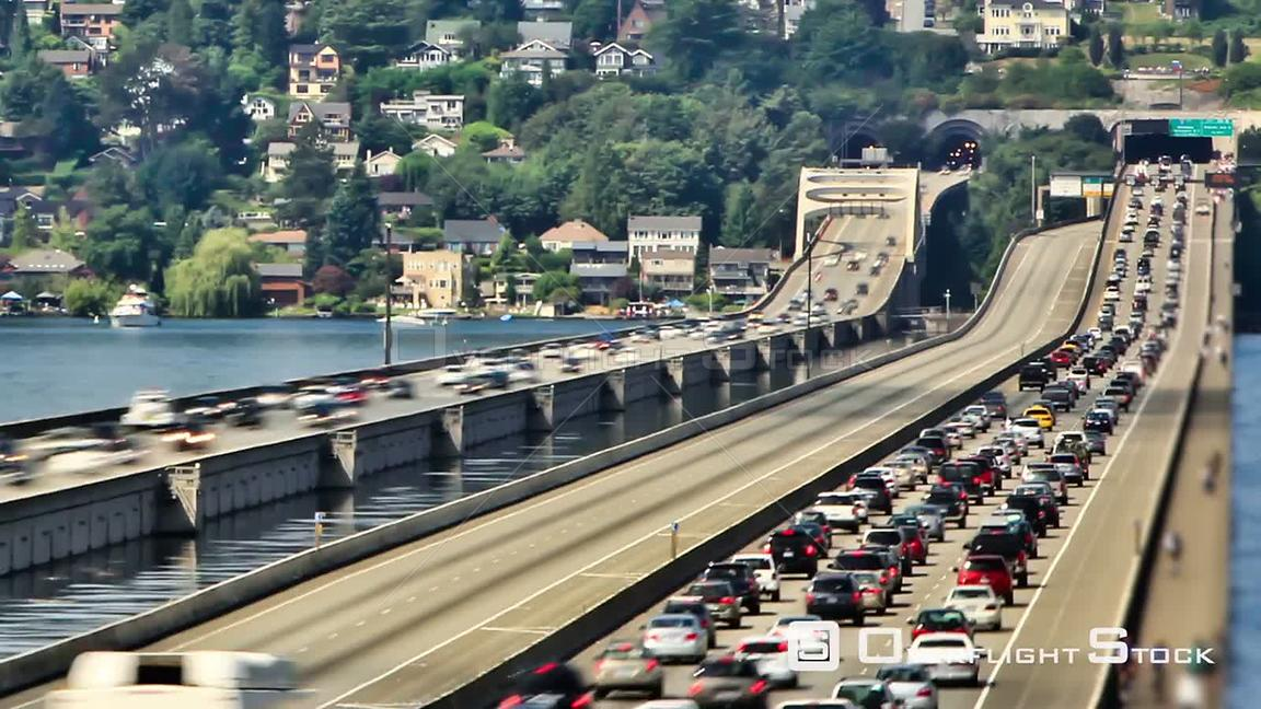 Seattle Washington State USA Zooming Seattle I90 traffic time lapse using a photo effect.