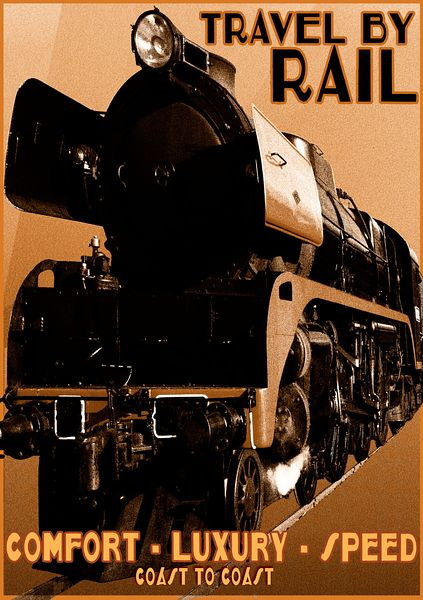 retro travel steam rail poster