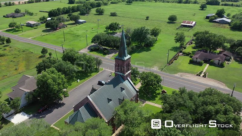 Country church in a rural setting with farms, Schulenburg, Texas, USA