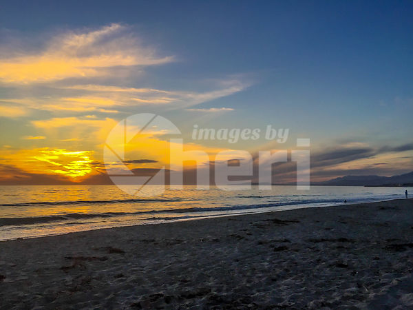Beautiful sunset over the sea with clear sky in Carpinteria State Beach, California