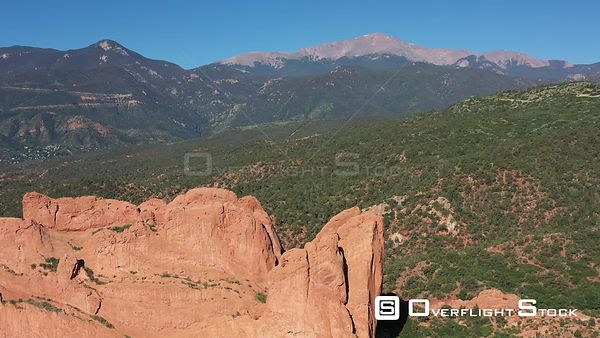 Kissing Camels Rock formation and Pike's Peak, Colorado Springs, Colorado, USA