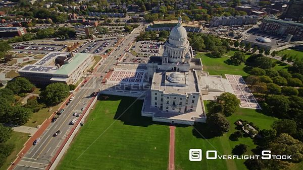 Providence Rhode Island Panning birdseye looking over Capitol building to panoramic downtown cityscape