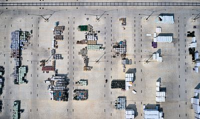 Aerial photo of Home Depot yard in Baltimore