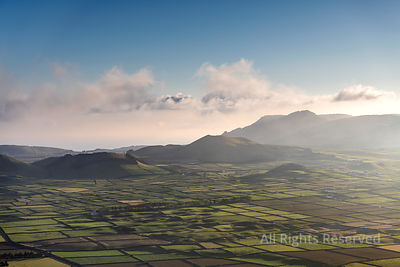 Aerial Sunset Landscape on the Amazing Serra Do Cume and Serra Da Ribeirinha Volcanic Craters and Calderas Covered With a Pat...