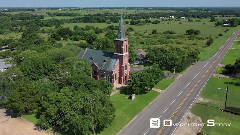 Country church and steeple, Schulenburg, Texas, USA
