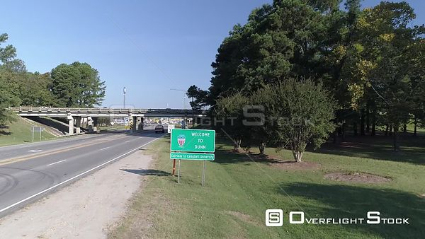 Drone Video Highway Sign Dunn North Carolina