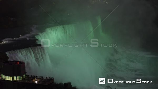 Niagara Falls Ontario Panning around American Falls detail, in green hue