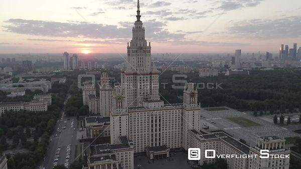 Sunset Pass by Moscow State University With MBCC Reveal. Moscow Russia Drone Video View