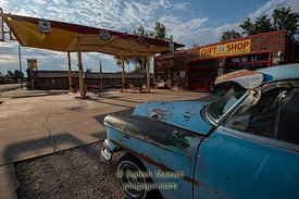 Old Car and Gas Station, Route 66, Seligman, Arizona, USA