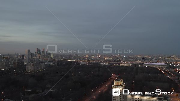Dusk Backward Flight With Moscow State University and MBCC. Moscow Russia Drone Video View