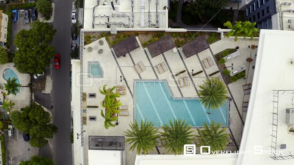 Aerial Pull Out Rooftop Swimming Pool Flagler Village Fort Lauderdale Fl Usa