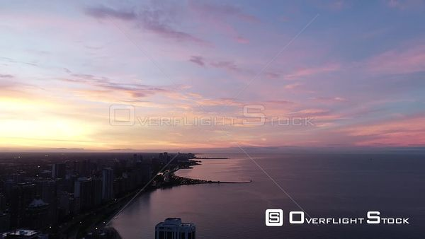 Lakeshore od Chicago Illinois Drone Aerial View