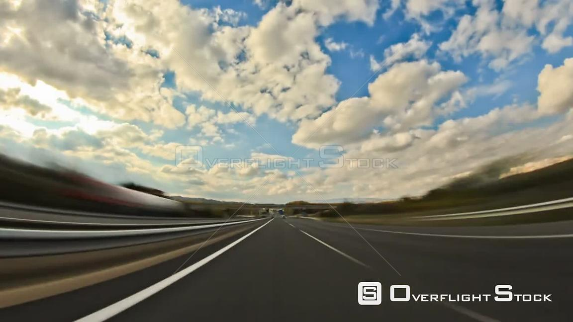 Driving highway time lapse through Portugal countryside.