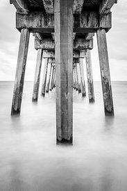 Pensacola Beach Florida Gulf Pier Pilings Black and White Photo