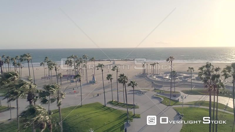 Drone Video Deserted Beach During COVID-19 Pandemic. Venice Beach California