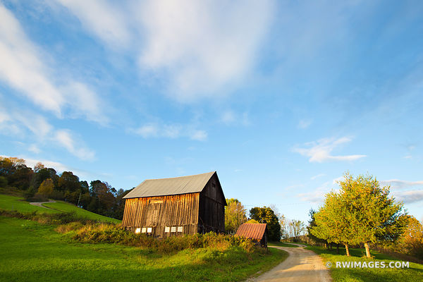 COUNTRY ROAD OLD BARN VERMONT SUNSET NEW ENGLAND COLOR