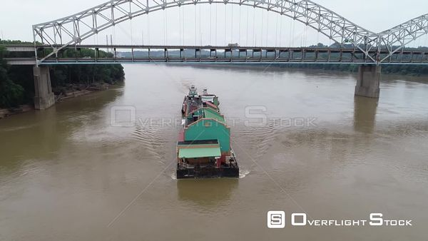 Barge on the Ohio River Near Louisville Kentucky Drone Aerial View