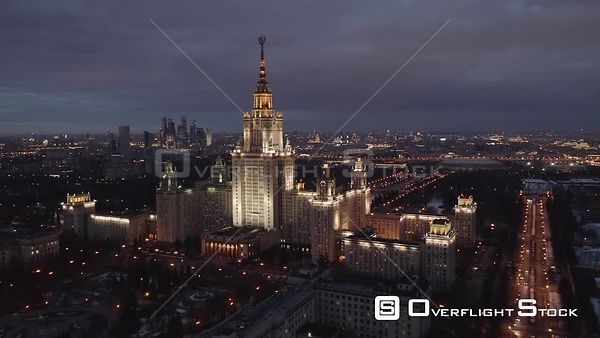 Circle Flight Near Moscow State University, With City Lights. Moscow Russia Drone Video View