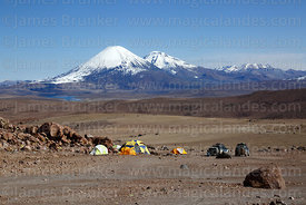 Base camp for Guallatiri volcano, Payachatas volcanos in distance, Lauca National Park, Region XV, Chile