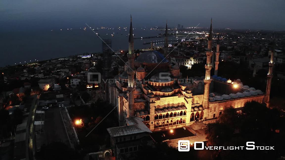 Rotational shot of Istanbul's Blue Mosque in the early morning (about 5 am) Turkey