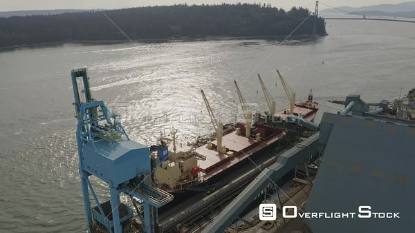 Vancouver BC Canada Panning birdseye rotating overtop shipping terminal landscape