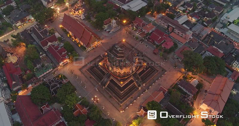 Chang Mai Thailand Aerial Panning birdseye of temple detail at dusk