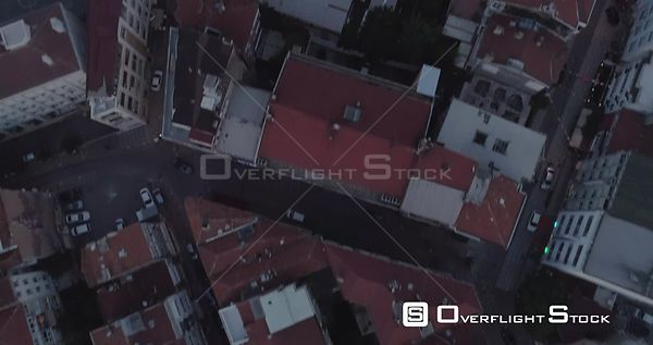 Aerial View Looking Down of Kadikoy Rooftops Turkey