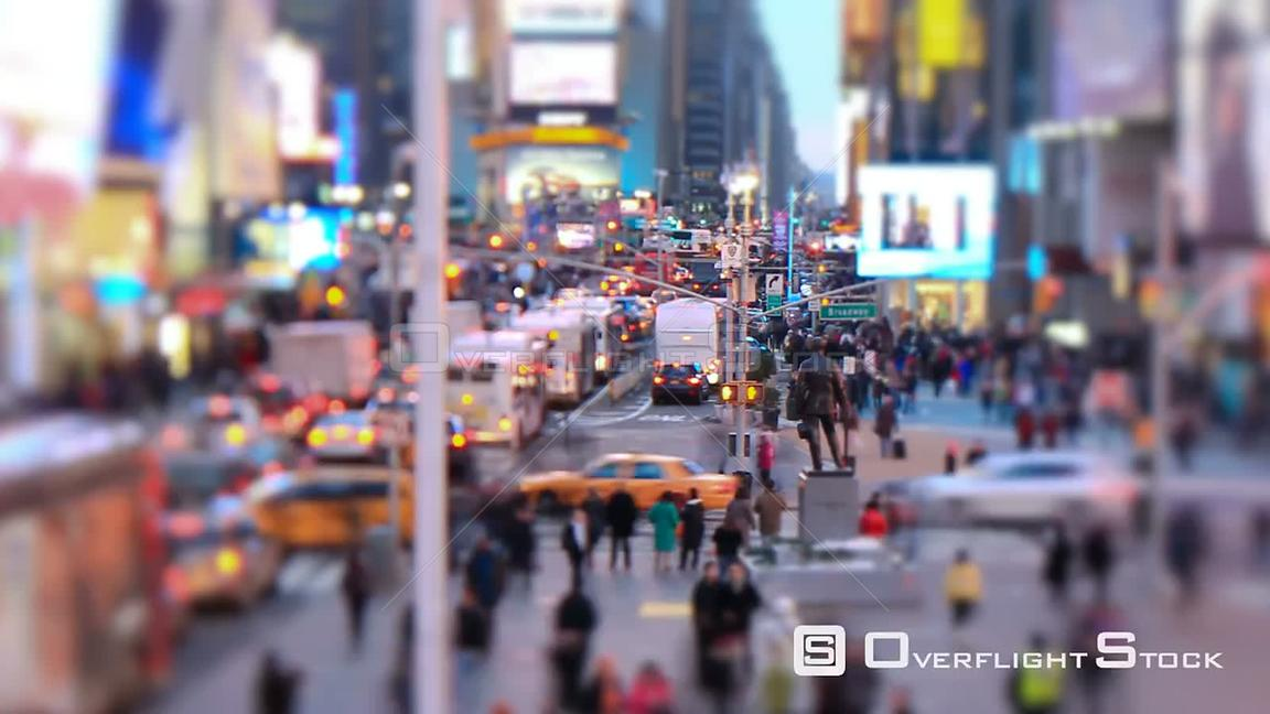 NYC New York USA Zooming busy city traffic time lapse of Times Square, tilt shift and circular blur.