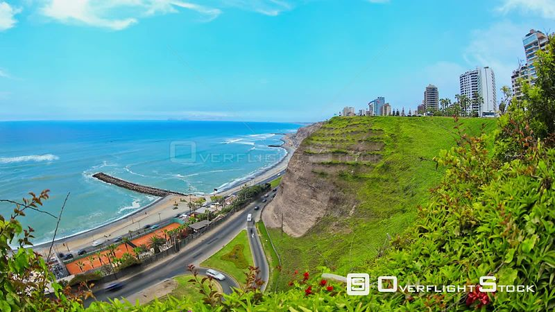 Time lapse of beach and traffic in Lima Peru