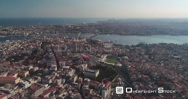 Aerial View Over Istanbul Towards Galata Bridge Turkey