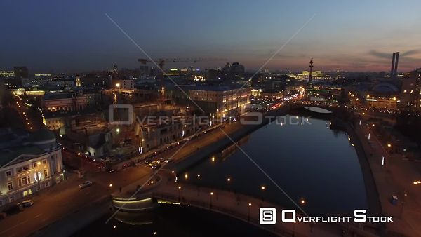 Moscow River Banks Flight During the Night. Moscow Russia Drone Video View