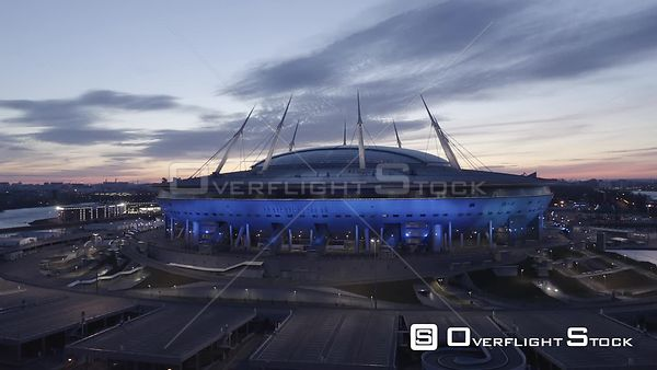 Backward Fly, Away from Zenit Arena Stadium at Sunrise. Saint Petersburg Russia Drone Video View