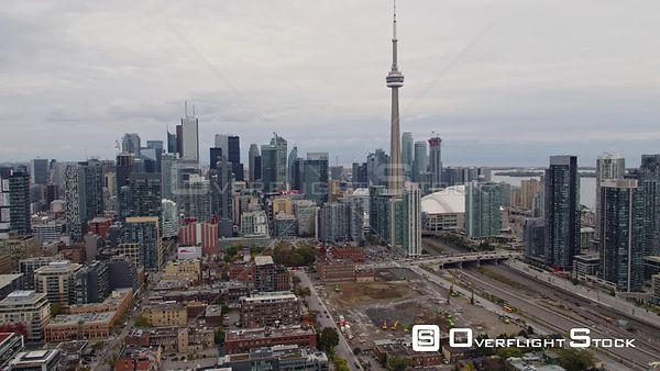 Toronto Ontario Slow sweeping panoramic view of downtown cityscape