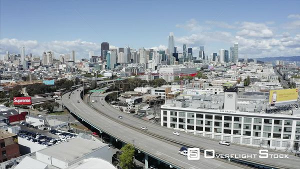 Freeway to Downtown Drone Aerial View Covid19 Lockdown San Francisco California