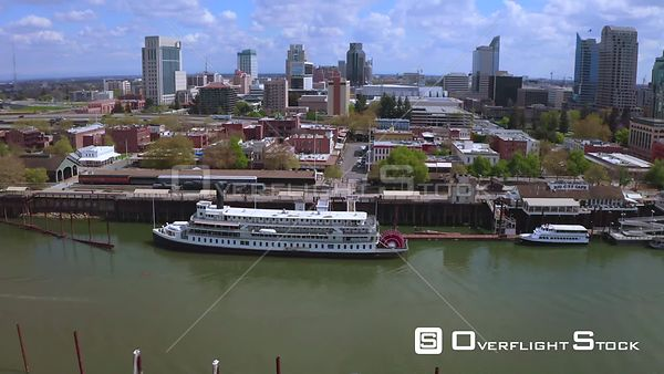 Drone Video of Old Downtown and River Sacramento California