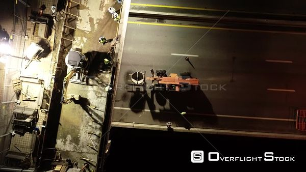 Night Overpass Highway Construction Louisville Kentucky Drone Aerial View