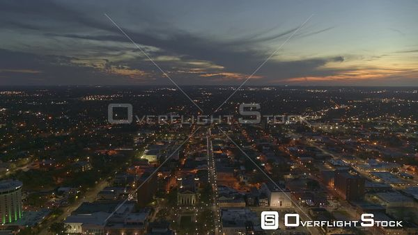 Mobile Alabama pull out shot of downtown at sunset as the city lights come to life  DJI Inspire 2, X7, 6k