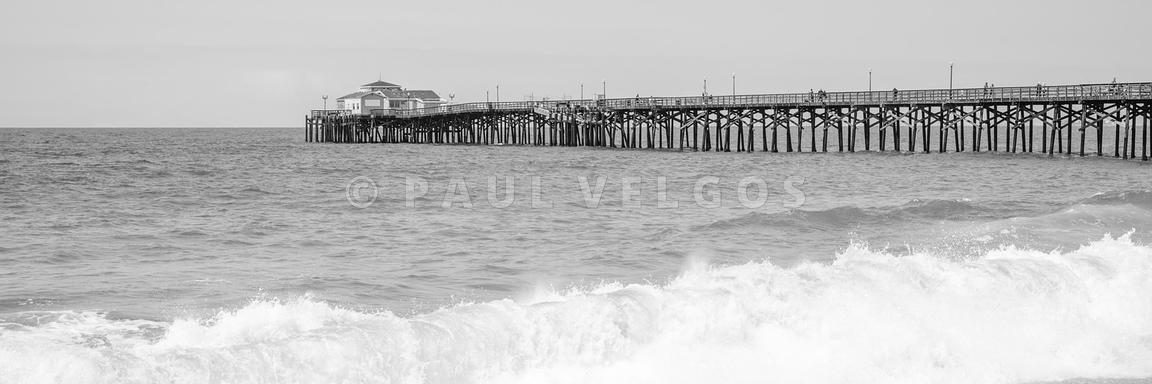 Seal Beach Pier Crashing Wave Black and White Panorama Photo