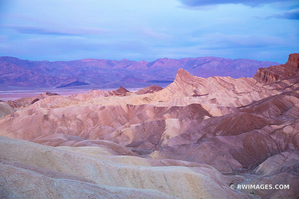 ZABRISKIE POINT AT DAWN DEATH VALLEY CALIFORNIA PINK COLOR BEFORE SUNRISE AMERICAN SOUTHWEST DESERT LANDSCAPE