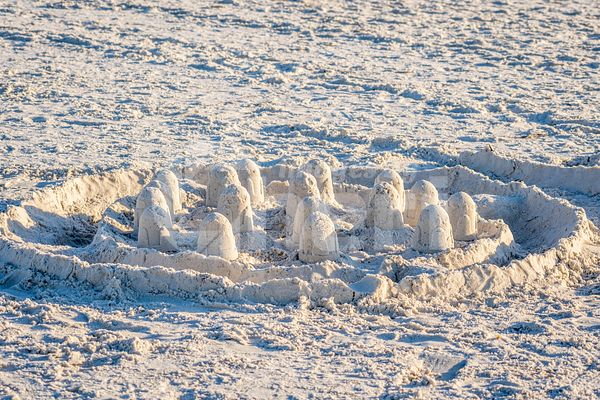 A well made sand castle along the shore of Anna Maria Island, Florida