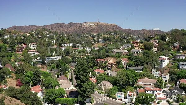 Hollywood Suburbs with View of Iconic Hollywood Sign Drone View
