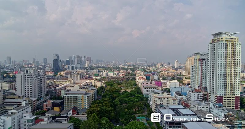 Thailand Bangkok Aerial Flying very low over Santiphap Park and surrounding neighborhoods