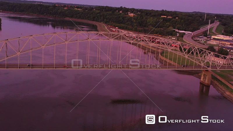 Flying Over a Bridge, Looking at the River Town, Dubuque, Iowa, USA